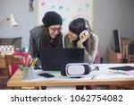 teenage girls game designers   Shutterstock . vector #1062754082