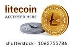 litecoin. accepted sign emblem. ... | Shutterstock .eps vector #1062755786