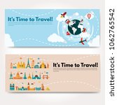 it s time to travel.trip to...   Shutterstock .eps vector #1062765542