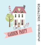 garden party invitation card | Shutterstock .eps vector #1062790928