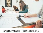 woman learning lettering with... | Shutterstock . vector #1062801512