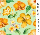 watercolor seamless tropical... | Shutterstock . vector #1062818258