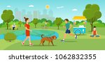Stock vector girl is walking with a dog grandfather sitting on the bench and reading newspaper young man 1062832355