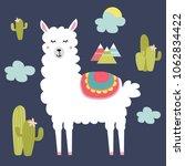 cute alpaca and cactus elements....   Shutterstock .eps vector #1062834422