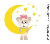 cartoon cute dog girl and moon | Shutterstock .eps vector #1062842828