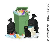 trash pile with garbage can and ... | Shutterstock .eps vector #1062845192