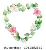 watercolor eucalyptus heart... | Shutterstock . vector #1062852992