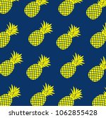 yellow pineapples over a blue... | Shutterstock .eps vector #1062855428