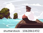 guy sitting on wooden boat in...   Shutterstock .eps vector #1062861452