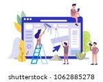 man and girl building website.... | Shutterstock .eps vector #1062885278