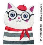 Parisian Style Cat. Watercolor...