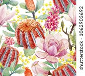 watercolor tropical flower... | Shutterstock . vector #1062903692