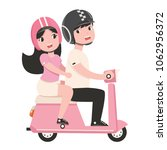 couple with safety helmet on... | Shutterstock .eps vector #1062956372