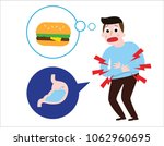 man suffering sad man is hungry.... | Shutterstock .eps vector #1062960695