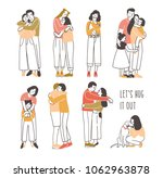 collection of pairs of hugging... | Shutterstock .eps vector #1062963878