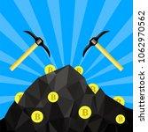 golden bitcoin on blue... | Shutterstock . vector #1062970562
