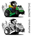 cartoon racing lawnmower vector ... | Shutterstock .eps vector #1062987242