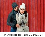 couple  she sending a kiss and... | Shutterstock . vector #1063014272