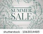 green summer sale text and... | Shutterstock . vector #1063014485