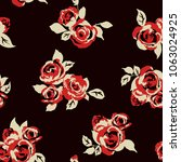 seamless vintage pattern with... | Shutterstock .eps vector #1063024925