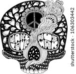 psychedelic hippie scull t... | Shutterstock .eps vector #106303442