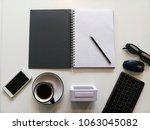 office desk table of business... | Shutterstock . vector #1063045082
