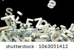 a lot of letters falling from... | Shutterstock . vector #1063051412