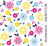 colorful daisies and small... | Shutterstock .eps vector #1063071128