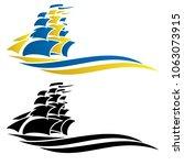 sailing ship vector graphic... | Shutterstock .eps vector #1063073915