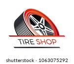 tire shop   3d look of a car... | Shutterstock .eps vector #1063075292