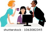 annoyed businesswoman trying to ... | Shutterstock .eps vector #1063082345