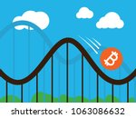 bitcoin coin on roller coaster | Shutterstock .eps vector #1063086632