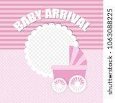 baby arrival card | Shutterstock .eps vector #1063088225