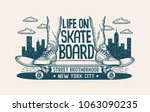 legs in sneakers on skateboard... | Shutterstock .eps vector #1063090235