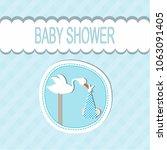 baby shower card | Shutterstock .eps vector #1063091405