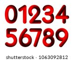 the red set of numbers from 0... | Shutterstock .eps vector #1063092812