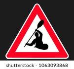 "warning sign ""kayak crossing"" ... | Shutterstock .eps vector #1063093868"