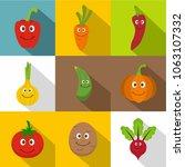 smiling vegetables icons set....   Shutterstock . vector #1063107332