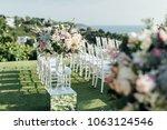 setup wedding ceremony | Shutterstock . vector #1063124546