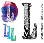 letter l. doodle drawing ... | Shutterstock .eps vector #1063127642