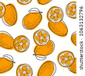 seamless pattern with cumquat... | Shutterstock .eps vector #1063132796