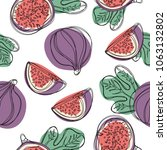 fig and leaves seamless pattern.... | Shutterstock .eps vector #1063132802