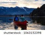 adventurous people on a wooden... | Shutterstock . vector #1063152398