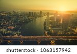 aerial view of sunset sky over... | Shutterstock . vector #1063157942