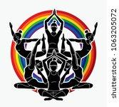 yoga class  group of women... | Shutterstock .eps vector #1063205072