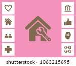 home repairing icon with bonus... | Shutterstock .eps vector #1063215695