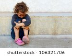 poor  sad little child girl... | Shutterstock . vector #106321706