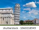 leaning tower and pisa... | Shutterstock . vector #1063218545