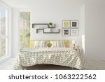white bedroom with summer... | Shutterstock . vector #1063222562