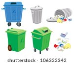 rubbish and garbage cans and a... | Shutterstock .eps vector #106322342